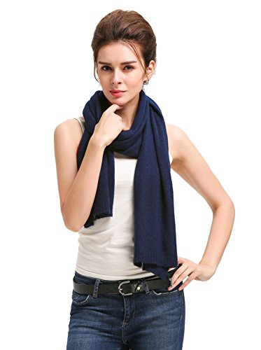 - Miuk 2018 New Womens 100% Pure Cashmere Scarf Winter Warm Soft Knitting Tippet Navy
