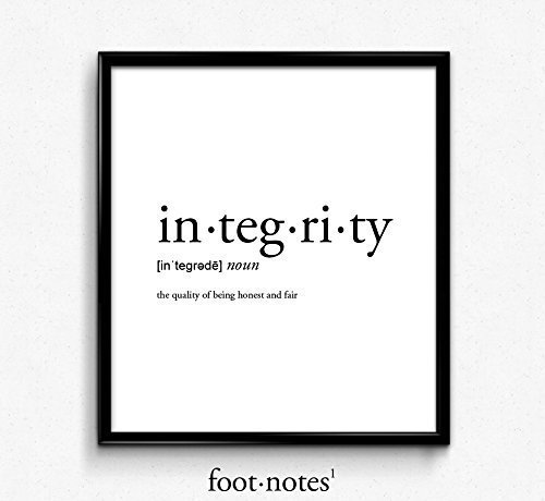Integrity definition romantic love dictionary art print for Minimalist house meaning
