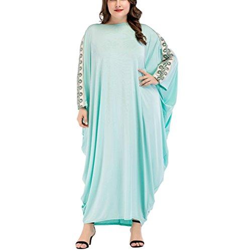 間接的かもめ湿度Zhhlaixing ソリッドカラー 縫い目 バットウィングスリーブ ドレス 中東 イスラム教徒のドレス ロングドレス 女性 レディース
