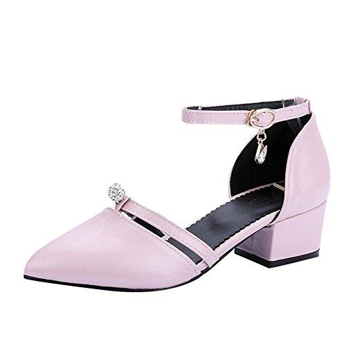 MissSaSa Damen Ankle-Strap Pointed Toe Pumps mit Strass Pink