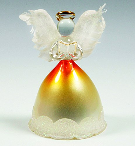 BANBERRY DESIGNS Lighted Angel Figurines - LED Glass Angel Statue with Real Feather Wings and Holding a Hymnal Book - Christmas Angels