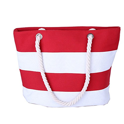 Wewod Bolso de Tela para Mujer Medium/Bolso Shopper Lona/Bolsa de Playa/Bolso Bandolera Moda 45 x 36 x 14 cm (L*H*W) Rojo
