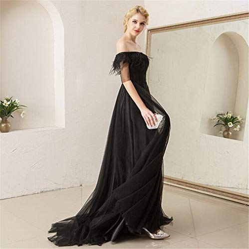 Negro Hombro q Sexy Boda Del Sin Largo Falda Formal Noche Elegante Fuera Tirantes Drohe Vestido De Mujer TwdqXwv5f