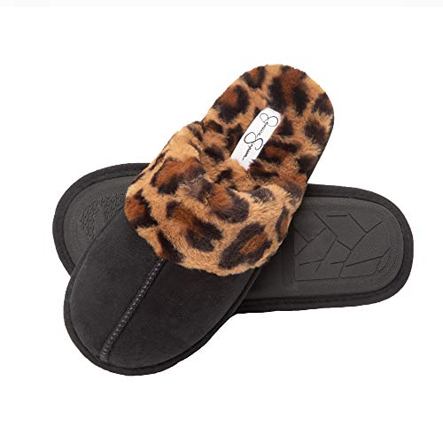 Jessica Simpson Comfy Faux Fur Womens House Slipper Scuff Memory Foam Slip On Anti-Skid Sole (Size Medium, Black/Leopard)