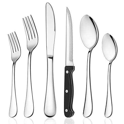LIANYU 72-Piece Silverware Set with Steak Knives, Stainless Steel Flatware Cutlery for 12, Modern Eating Utensil Tableware for Kitchen Restaurant Hotel, Dishwasher Safe