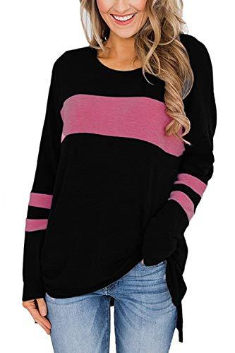 Odosalii Langarmshirt Sweatshirt mit Streifen Pullover Casual Shirt Rundhals Lose Oberteil Tunika Tops