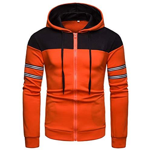 QBQCBB Mens Long Sleeve Hooded Blouse Patchwork Zipper Striped Drawstring Hoodie Shirt(Orange,XXXL) ()