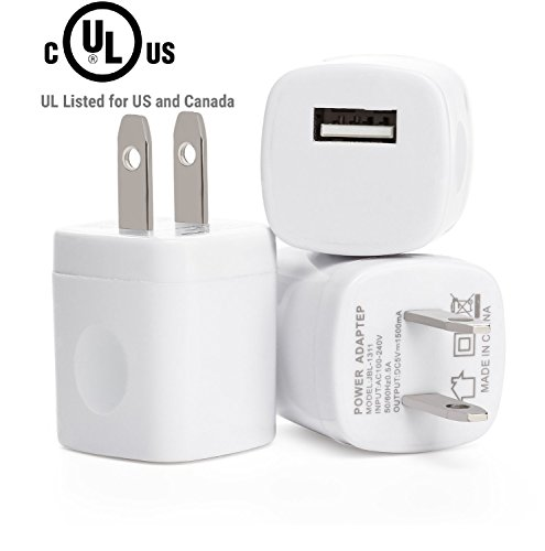 Home Usb Charger Oem (RKINC Universal USB Port Colors USB AC/DC Power Adapter, Home Wall Charger, Plug with Easy Grip for iPhone 6/6 plus 5S 5 4S Samsung Galaxy S5 S4 S3 - White - 3 Piece)