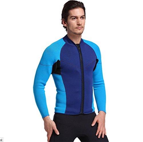 Mens 3mm Neoprene Wetsuits Long Sleeve Shirt Snorkeling Surfing Swimsuit Shirt Sunscreen diving suits (Int'l-M Height(168-175cm), - Swimsuit Neoprene Mens