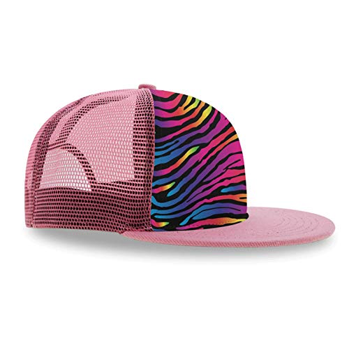 (Boys Girls -Rainbow Zebra Print- Hip-Hop Caps Classic Fashion Baseball Cap Cotton Adjustable Dad Hat Trucker Hat Gifts)