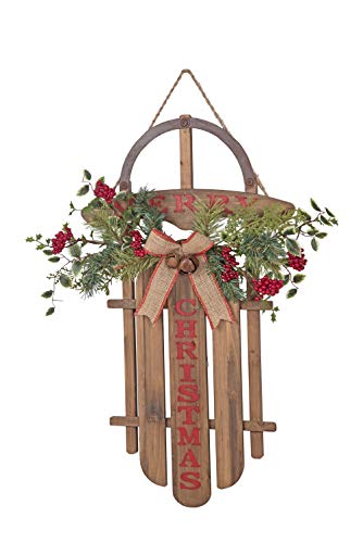 Transpac Imports D1541 Extra Large Merry Christmas Sled Decor, Natural ()