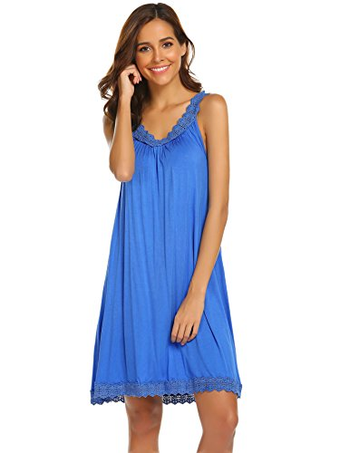 (Ekouaer Sexy Lingerie Women's Sleepwear Cotton Lace-Trim Chemise Nightgown,Clear Blue,Small )