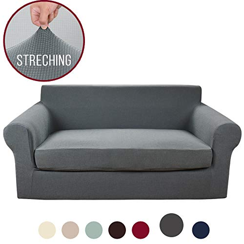 Vailge 2-Piece High Stretch Jacquard Loveseat Cover, Durable Loveseat Slipcover with Separate Cushion Cover, Machine Washable Loveseat Protector for Dogs,Kids,Pets(Loveseat:Grey)