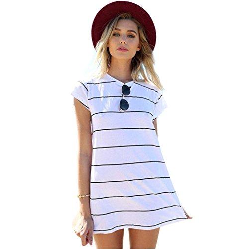 Creazy Women Loose Summer Stripe Print Short Sleeve Mini Dress (L)