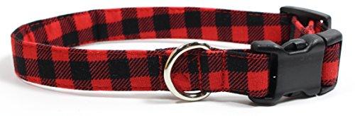 Red Plaid Dog Collar - Bonfire Plaid, Red Gingham Designer Dog Collar, Adjustable Handmade Fabric Collars (S)