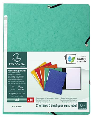 (Exacompta Ref. 55413E Pack of 10 Elastic Folders Glossy Card 355 GSM A4, Green)