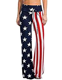 WeWeGirls Women American USA Flag Vintage Wash Wide Leg Yoga Pants Trousers