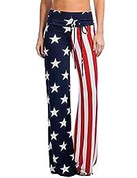 WeWeGirls Women American USA Flag Vintage Wash Wide Leg Yoga Pants Trousers