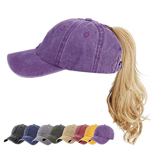 (Ponytail Vintage Sports Caps Messy High Bun Ponycaps Adjustable Cotton and Mesh Trucker Baseball Cap)
