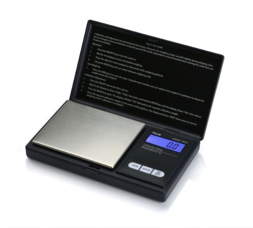 (American Weigh Scales AWS-1KG-BLK Signature Series Black Digital Pocket Scale, 1000 by 0.1 G, With Seaside 500 Gram Stainless Steel Calibration Weight)