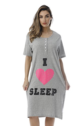 4361-24-S Just Love Short Sleeve Nightgown / Sleep Dress for Women / Sleepwea,Grey - I Heart Slee,Small
