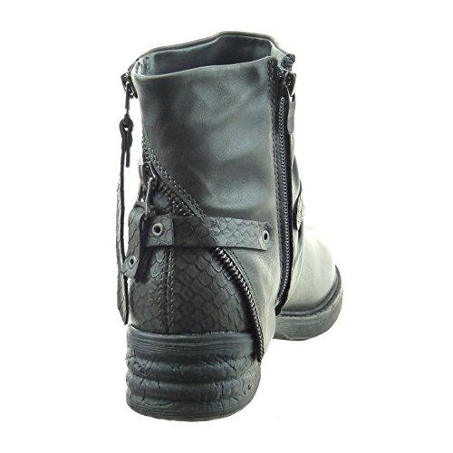 Sopily - Chaussure Mode Bottine motard Cheville femmes peau de serpent fermeture zip lanière Talon bloc 4 CM - Intérieur fourrure - Gris