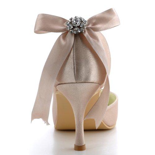 Tacon Champ¨¢n ElegantPark D'orsay Rhinestone Novia Saten Spool zapatos Punta Chiusa Mujer E0618 boda Pumps Nudos wSwCxqZpBz