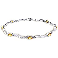 2.01 CTW 14K Solid White Gold Tennis Bracelet Diamond Citrine
