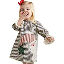 Hot Sale Christmas Party Toddler Baby Girls Princess Dress, Xmas Santa Striped Tassel Dress Autumn Winter Gifts