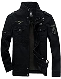 Men's Casual Long Sleeve Full Zip Jacket with Shoulder Straps