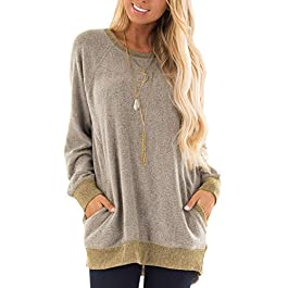 Women's Casual Color Block  Sweatshirt Top Tunic