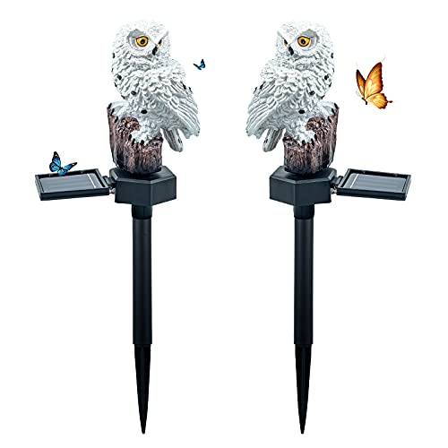 Halloween Lights Solar Light Outdoor Garden Decor 2pcs Resin owl Solar Animals led Lights Outdoor Garden Stake Waterproof Lighting for Flower Fence, Lawn, Patio, Walkway, Summer Party,Holiday Gifts