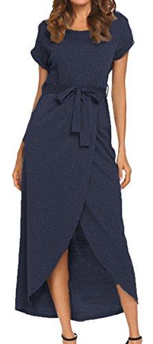 Women's Casual Loose Long Dress Short Sleeve Split Maxi Warp Dress Navy Blue - Long Dress Shift