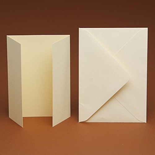 A6 Blank Cream SMOOTH GATEFOLD Cards and smooth C6 Envelopes (10)