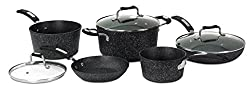 Starfrit The Rock 8 Piece Set With Bakelite Handles, Dark Gray