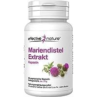 effective nature Mariendistel Extrakt - Enthält 80% Silymarin - Ohne Zusatzstoffe - Reich an ätherischen Ölen, Bitter- und Gerbstoffen - 60 vegetarische Kapseln