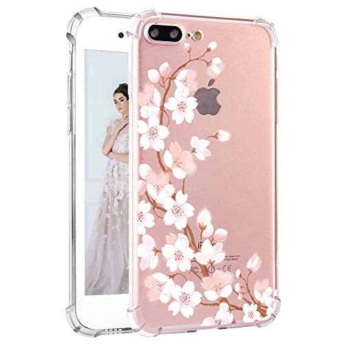 Feelingjoy Compatible iPhone 8 Plus/iPhone 7 Plus Case Girly Cute Cherry Blossom Floral Design Clear Protective Slim Soft TPU Heavy Duty Shockproof Bumper Phone Case for Girls Women, Pink Flowers