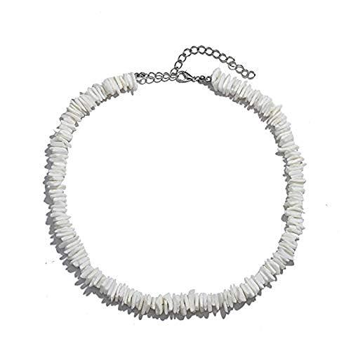 Ufond Shell Necklace Choker for Women Girls Natural Seashell Adjustable Boho Hawaiian Beach Jewelry Handmade Necklace Bracelets Anklets Set (Puka Shell Necklace 14