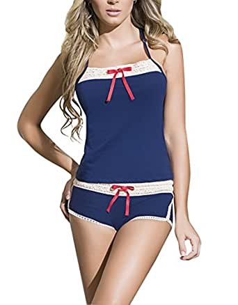 Midnight Blue Crochet Cami Set, Blue Pajama Set