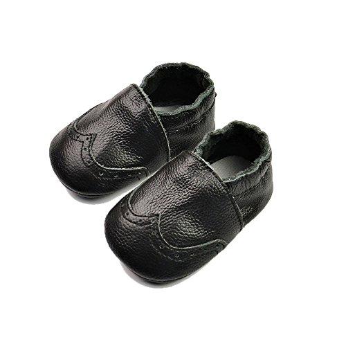 Vesi-Zapatos para bebé Primeros Pasos Zapatillas Infantiles para Niño/Niña Antideslizante Respirable Brogue Marrón Claro Talla L:12-18 Meses Negro