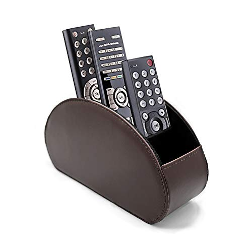 (Fosinz Remote Control Holder Organizer Leather Control Storage TV Remote Control Organizer with 5 Spacious Compartments (Dark Brown))
