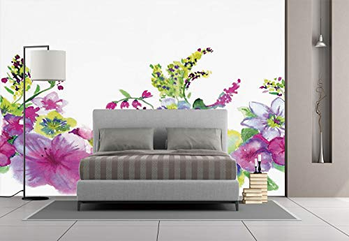 Large Wall Mural Sticker [ Watercolor Flower House Decor,Hybrid Garden Floret Composition with Heathers and Stocks Art,Pink Green ] Self-adhesive Vinyl Wallpaper / Removable Modern Decorating Wall (Roger Federer Hybrid)