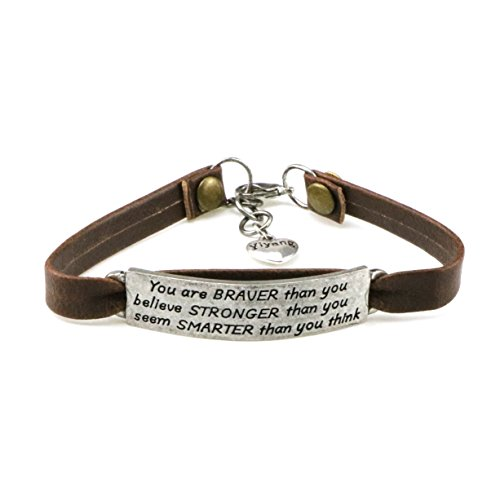 Yiyang Inspirational Leather Bracelets for Women Friendship Vintage Mens Charm Bracelet Motional Jewelry Gift for Her Cuff Bangle Engraved