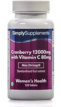 Arándanos Rojos 12000 mg - 120 comprimidos- Hasta 6 meses de suministro - infección de orina y sistema inmune - SimplySupplements