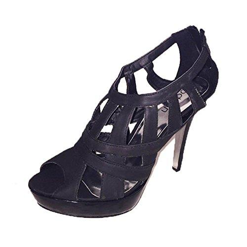 Damen festlichen zehenoffenen Riemchen high Heel Schuhe / Sandalen Schwarz