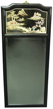 Oriental Furniture High End Asian Decor 42-Inch Ming Fine Black Lacquer Wall Mirror with Gold Landscape Motif by ORIENTAL FURNITURE