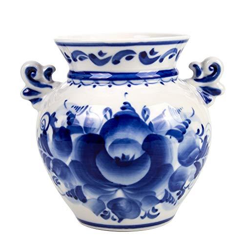 Hand-Painted Blue and White Porcelain Vase Summer - Decorative Vase - Gzhel Wall ()