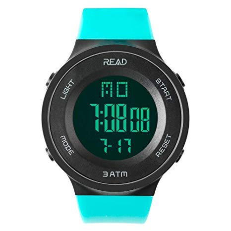 READ Reloj Deportivo Impermeable para Hombres con Fecha Automática, Cronógrafo, Reloj Despertador, Fecha Completa del Calendario y Luz LED