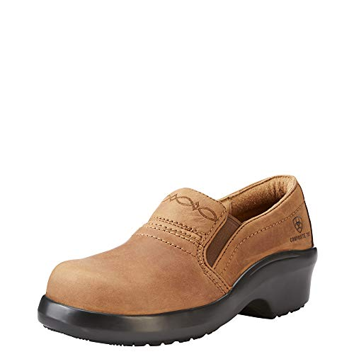 ARIAT Women's Expert Safety Clog ESD Composite Toe Brown Size 7.5 B/Medium Us (Leather Ariat Clogs)