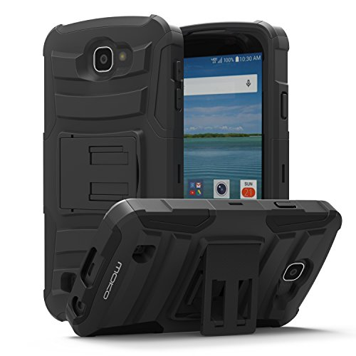 LG Optimus Zone 3 Case - MoKo [Heavy Duty] Full Body Rugged Holster Cover with Swivel Belt Clip - Dual Layer Shock Resistant LG Optimus Zone 3 4.5 Inch 2016 Smartphone Case, BLACK (Lg Optimus Otterbox compare prices)